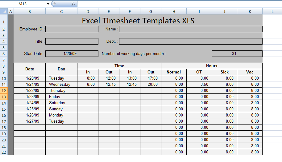 Free Excel Timesheet Templates Xls  Excel Xls Templates  Project