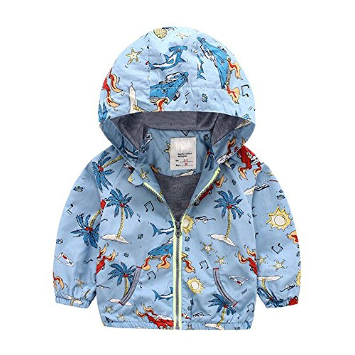 Soda Park Boys Lightweight Cartoon Windbreaker Active Jacket With Zipper Blue 4T -- Awesome products selected by Anna Churchill