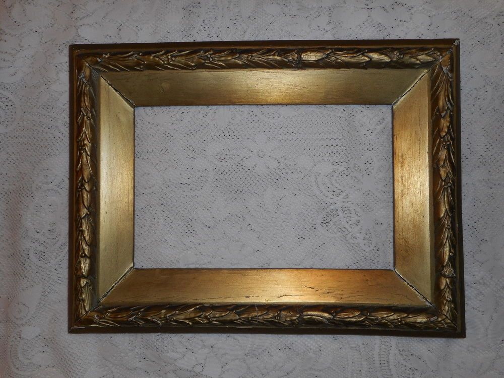 Antique Heavy Gold Painted Gesso Wood Picture Frame with 7-3/4 x 12 ...