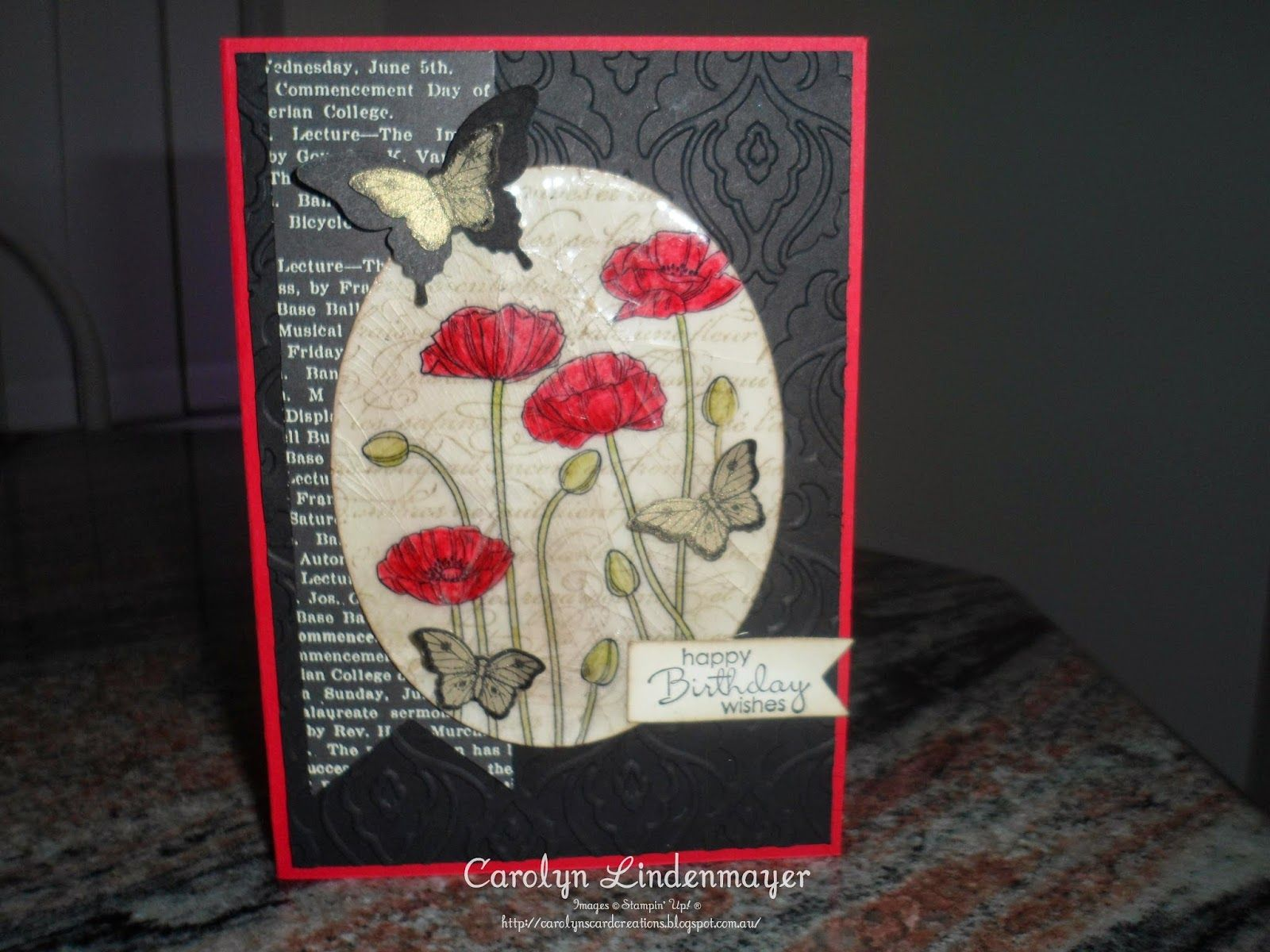 Carolyn's Card Creations: Paper Craft Crew Sketch Challenge 87 -Poppies with Cracked Glass technique