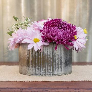 Rustic Tin Vase Corrugated Sides 4 X 725 Galvanized Metal Jim