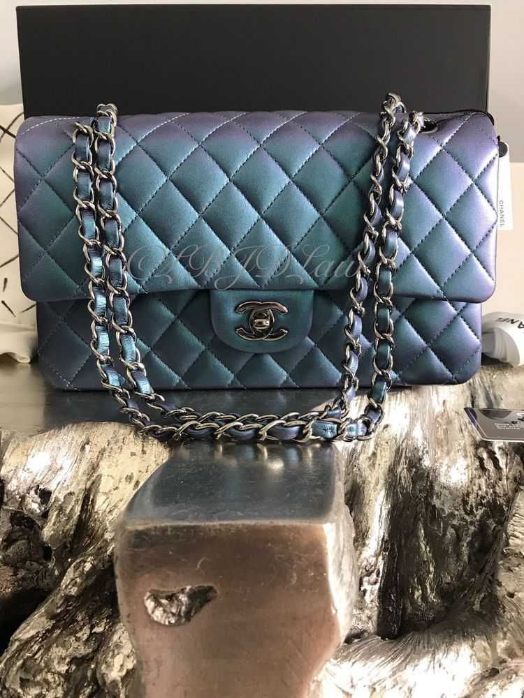 1db09e2a50d6 NWT CHANEL 2017 IRIDESCENT Turquoise Purple Medium Classic Flap RAINBOW  Mermaid #CHANEL #ShoulderBag