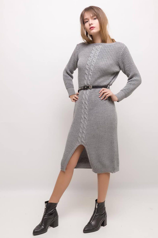 14c6bdf54508 Sivé polodlhé pletené šaty s opaskom