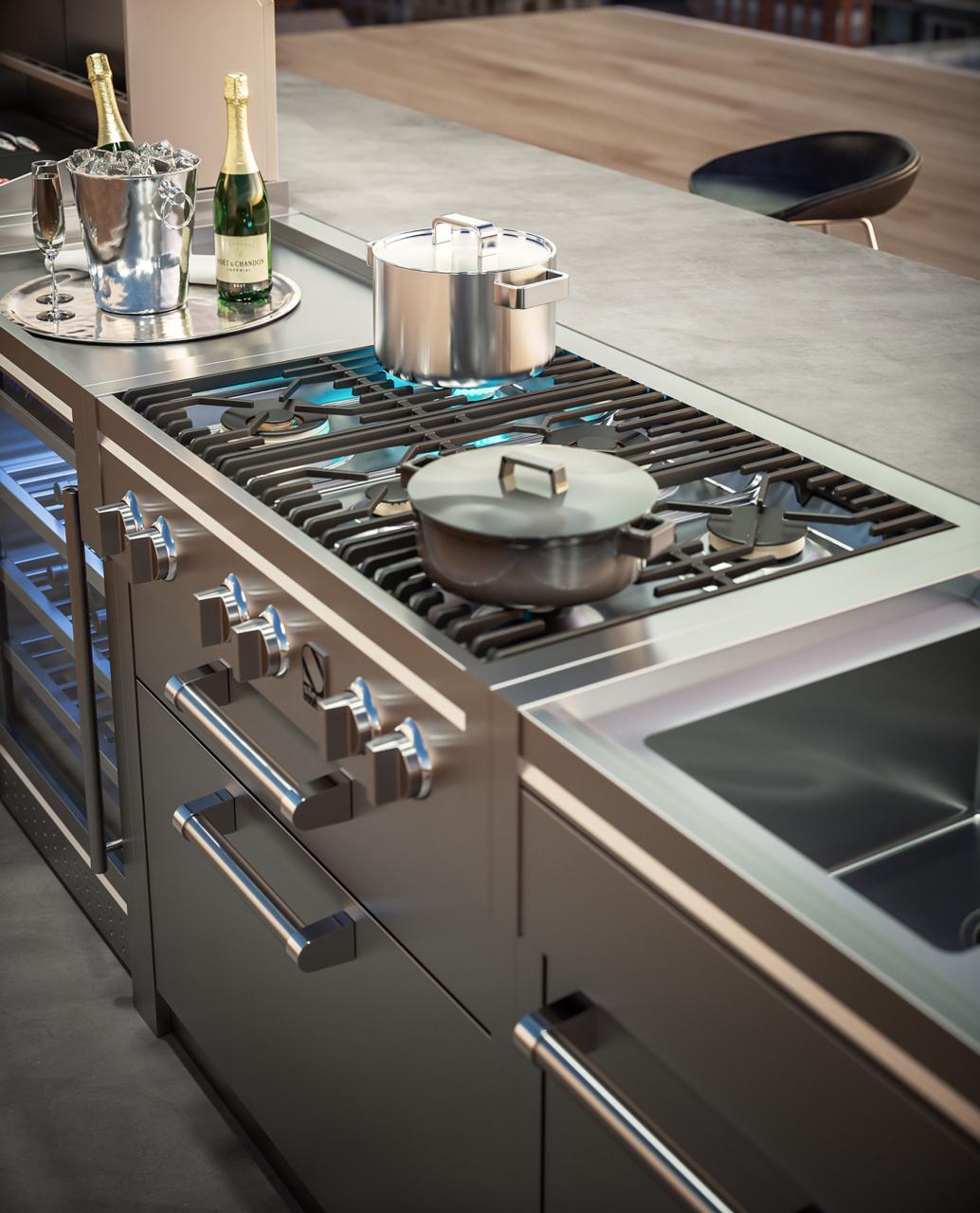 La Collezione Outdoor Di Steel Cucine Porta All Esterno Tutte Le Comodita E Le Performance Della Cucina Indoor Cucina Industriale Cucine Cucina Professionale