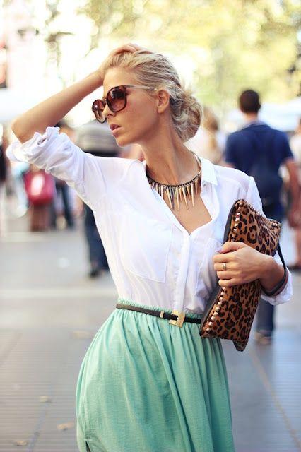 mint skirt, white shirt and leopard clutch