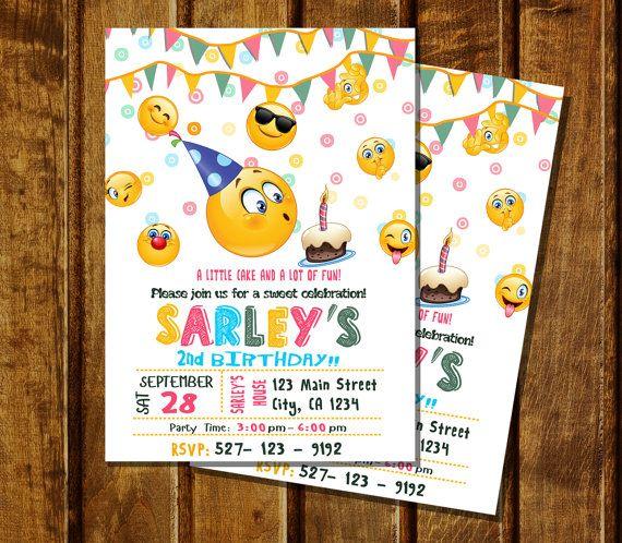 emoji birthday party invitation digital by angelwings2015 on etsy