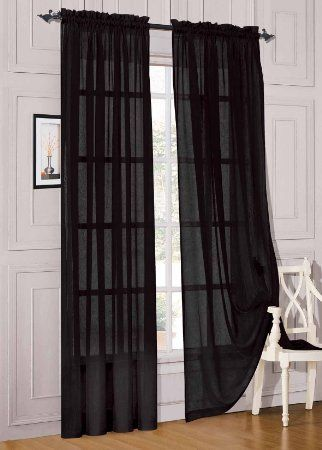 2 Piece Beautiful Sheer Window Elegance Curtains Drape Panels