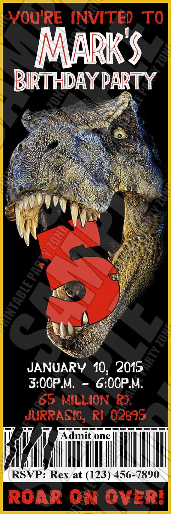 Jurassic Park Invite Printable Birthday Ticket Emailable Invite