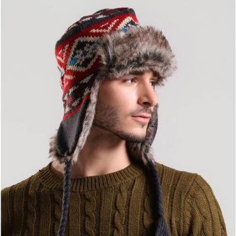 0bcc36205da Ethnic geometric bomber hat knitted Ushanka hat with ear flaps for ...