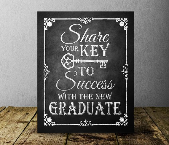 key to success chalkboard graduation sign graduation party