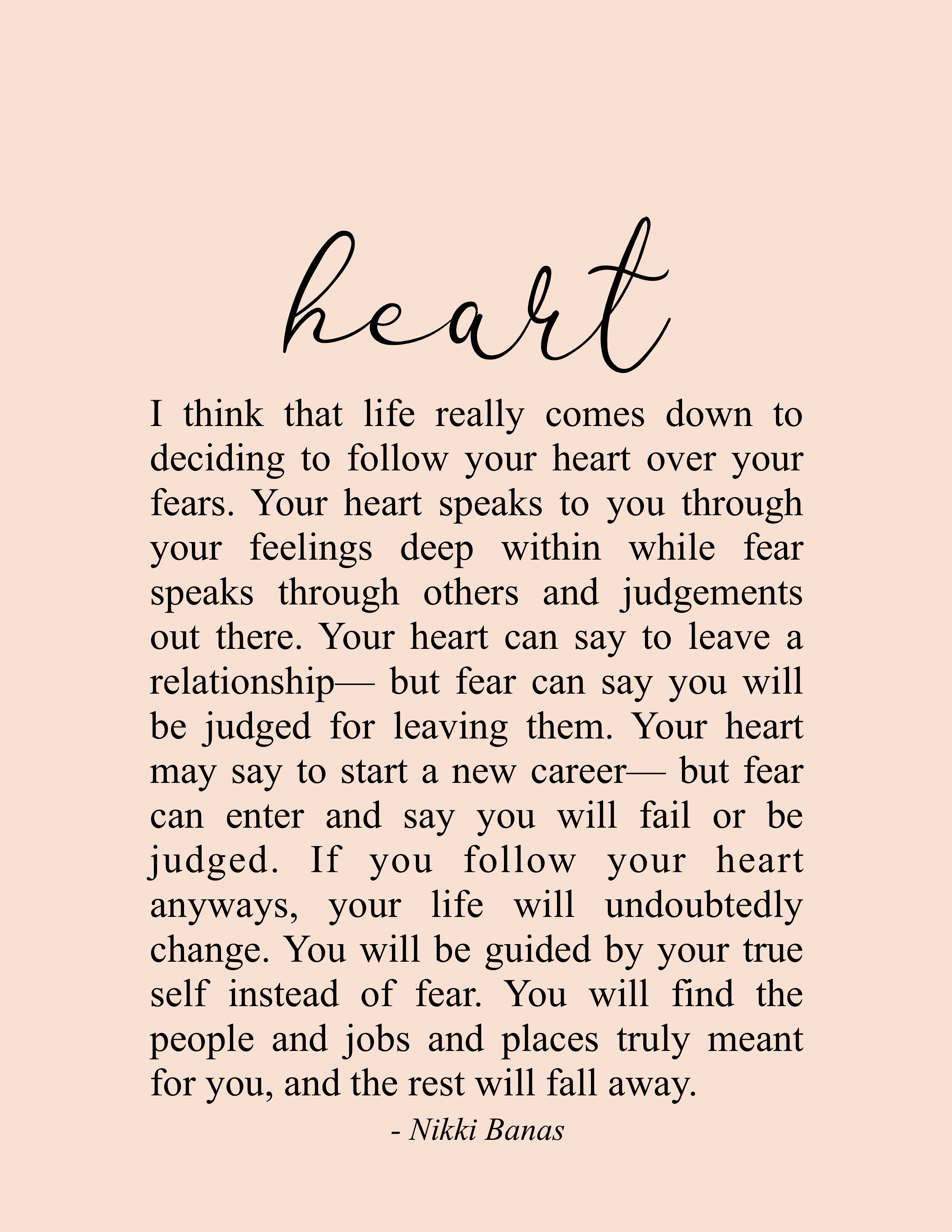 """Trust Your Heart 8.5"""" x 11"""" Print 