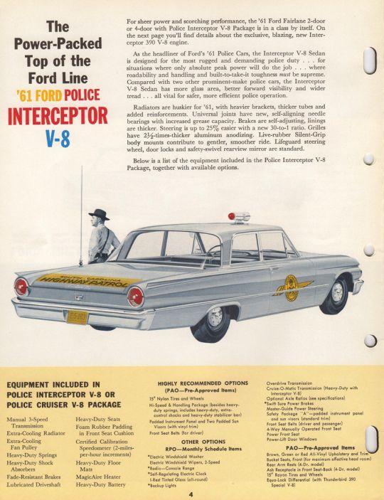 1961 Ford Police Car Police Cars Ford Police Old Police Cars
