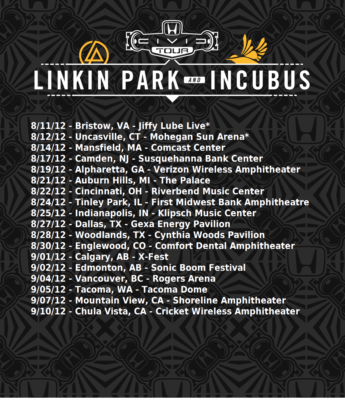 Honda Civic Tour 2012, featuring Linkin Park and Incubus. I will be at the  concert in Cincinnatti! I can't wait!