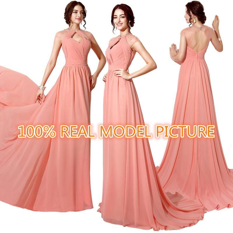 Evening Dresses Glasgow Real Model Image Coral Chiffon Evening Wear ...
