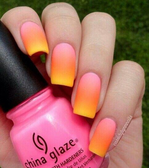 Summer Neon Gradient Nail Art ♥
