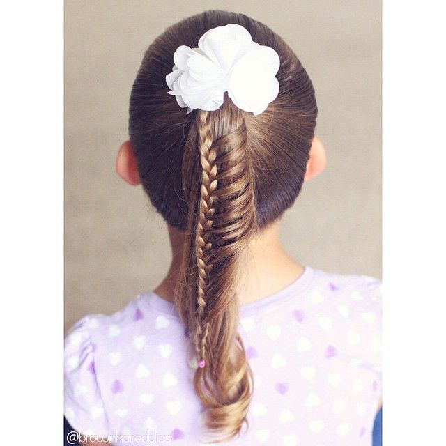 Ladder braid on big sis. Such a cute way to spice up a ponytail :).