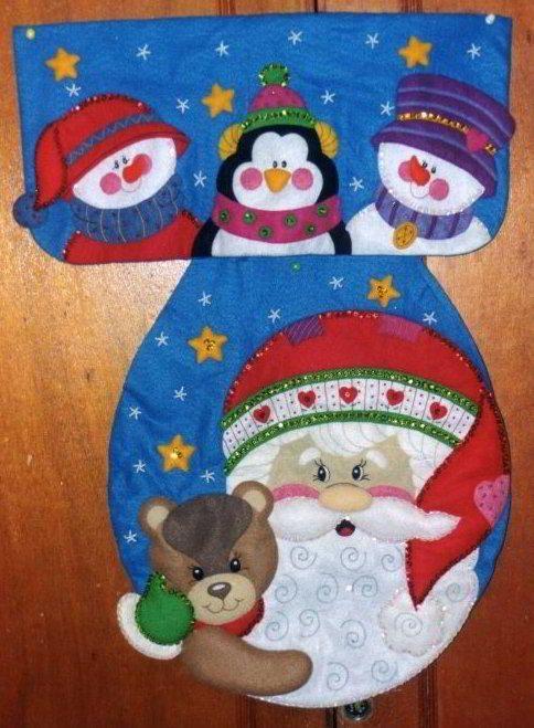 patrones y moldes de juegos de baños para navidad en fieltro ... - Juegos De Bano De Fieltro Para Primavera