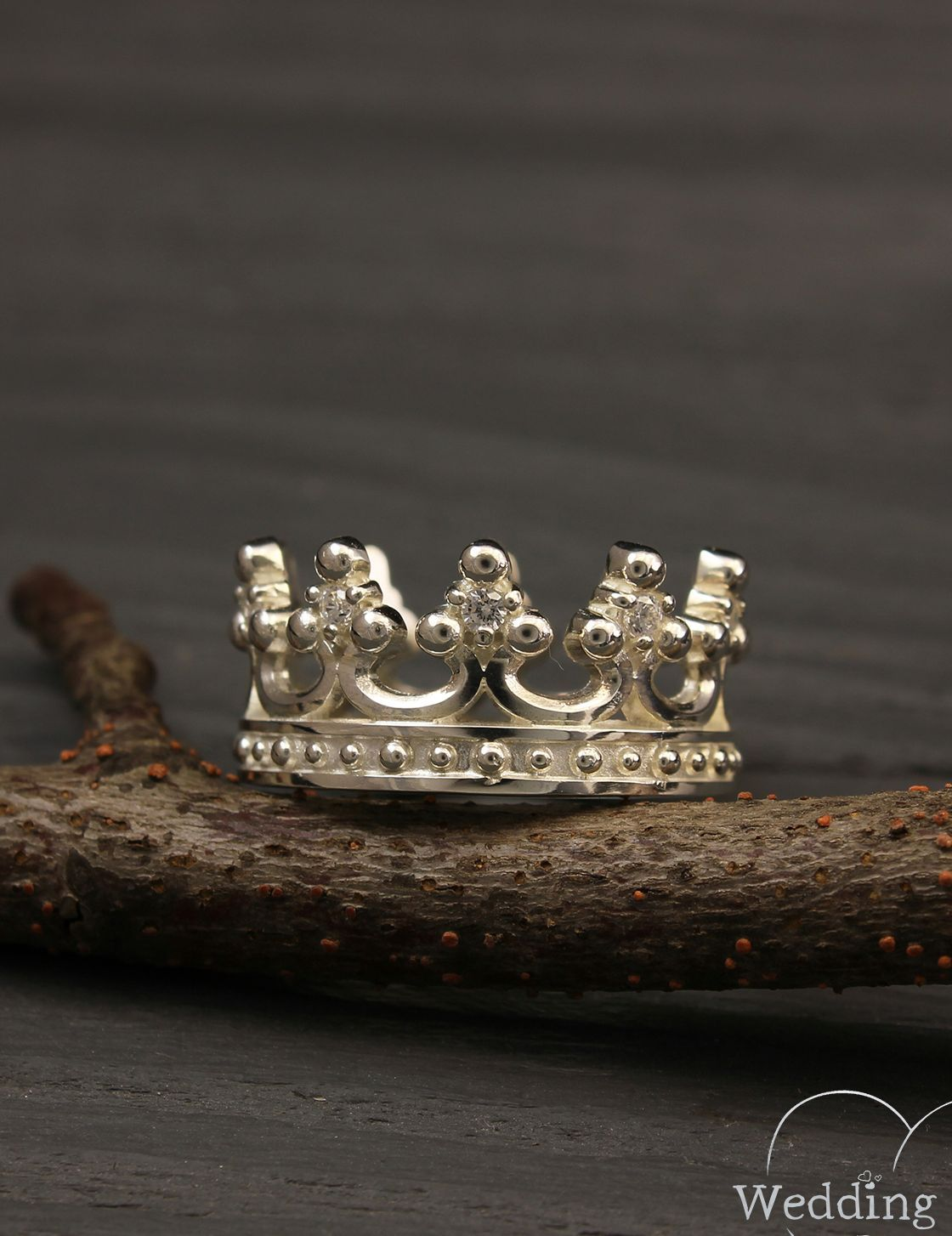 Crown engagement rings set, Couple crown rings, His and