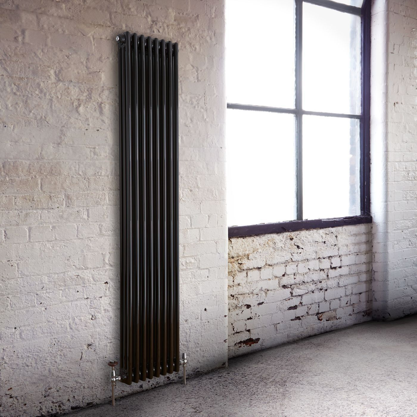 Milano Windsor - Traditional Black 3 Column Vertical Radiator 1800mm x 383mm