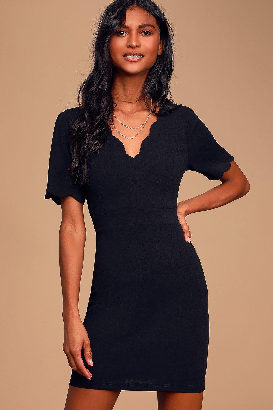 Shopping black bodycon dress short sleeve scalloped women juniors