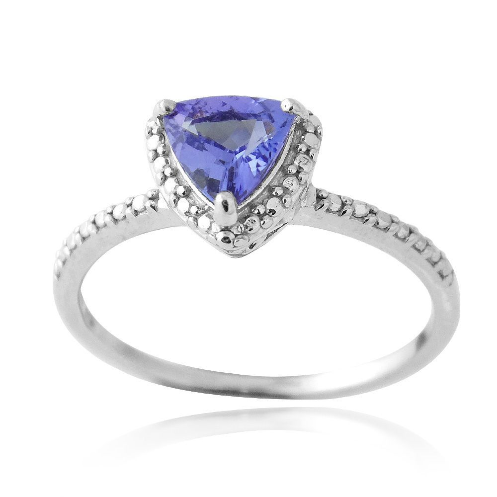 Glitzy Rocks Sterling Silver Trillion-cut Tanzanite and Diamond Ring (Size 10), Women's, White
