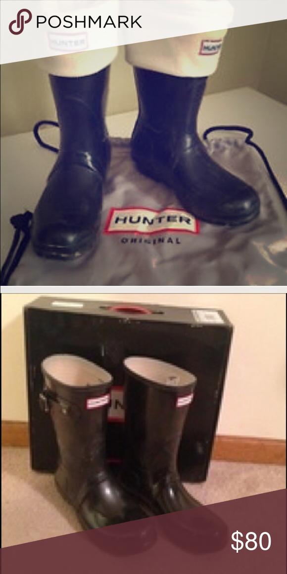 Short Glossy Hunter Boots Short rain boots in black glossy finish. Gently worn with few scuffs. DOES NOT INCLUDE BOX OR SOCKS. Hunter Boots Shoes Winter & Rain Boots