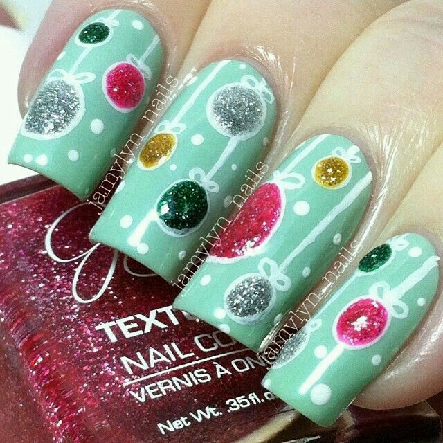 Christmas Ornaments Mint Green Nailart Nailart Nails Mint Christmas Ornaments Xmas Nails Christmas Nails Festive Nail Art