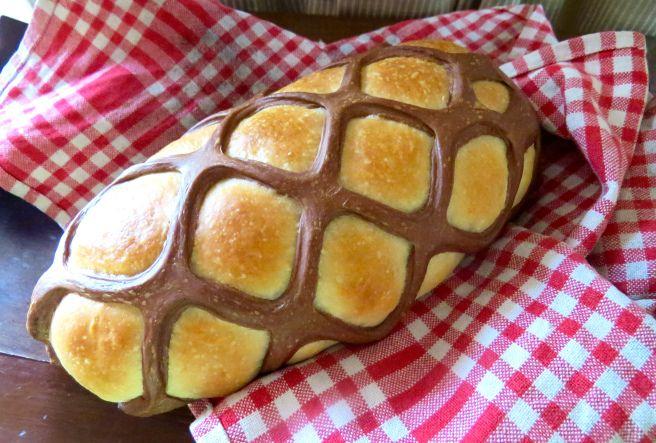 Lattice wrapped bread - cocoa powder to tint the lattice.