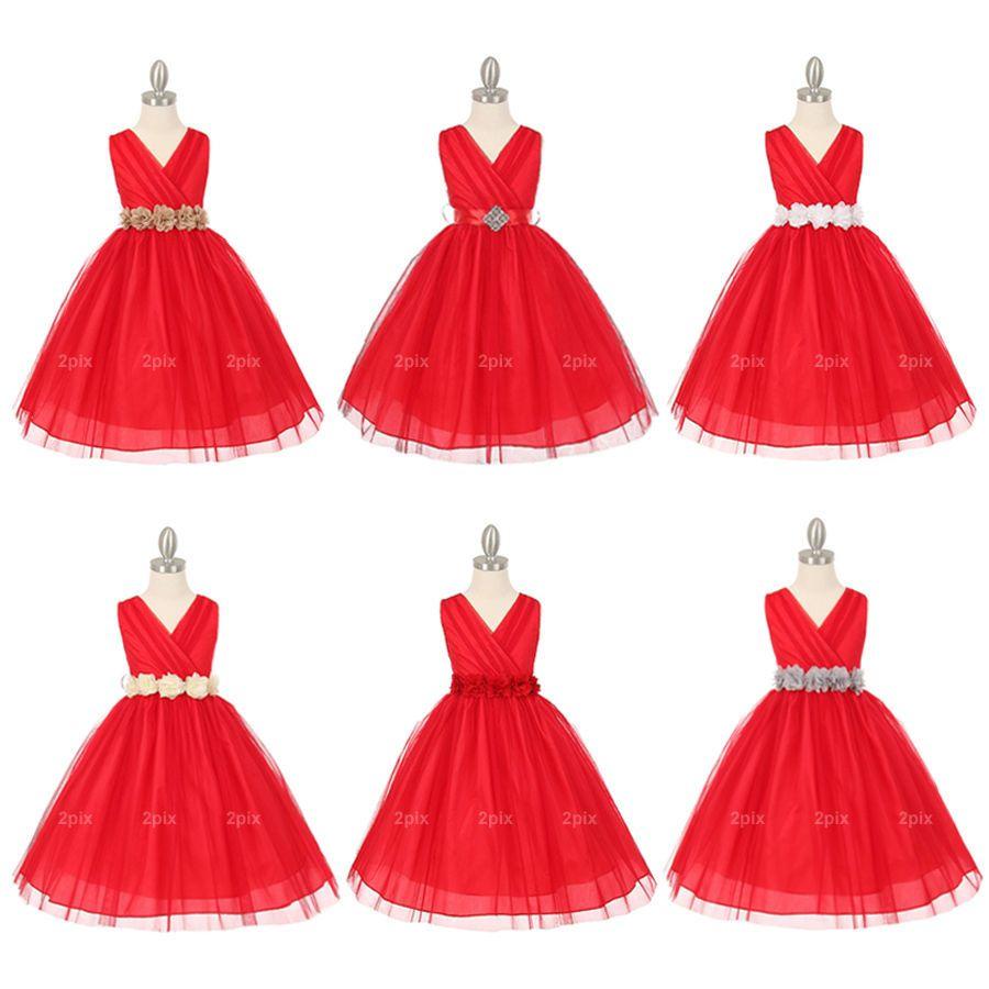 Girls formal occasion red flower girl dresses wedding