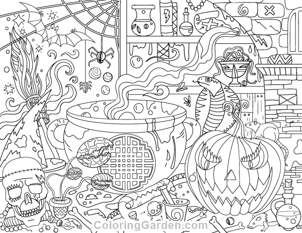 Free printable halloween adult coloring page download it for Halloween coloring pages for adults printables