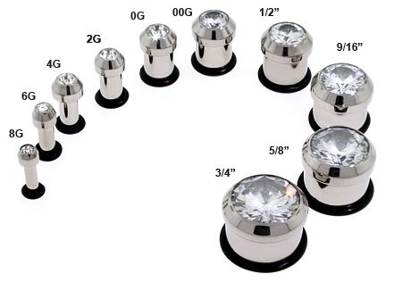 Buy gauges earrings set size 8 3 Pairs of 3mm screw flesh tunnels ...