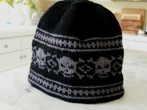 Free knitting pattern for skull hat beanie in intarsia knit free knitting pattern for skull hat beanie in fair isle dt1010fo