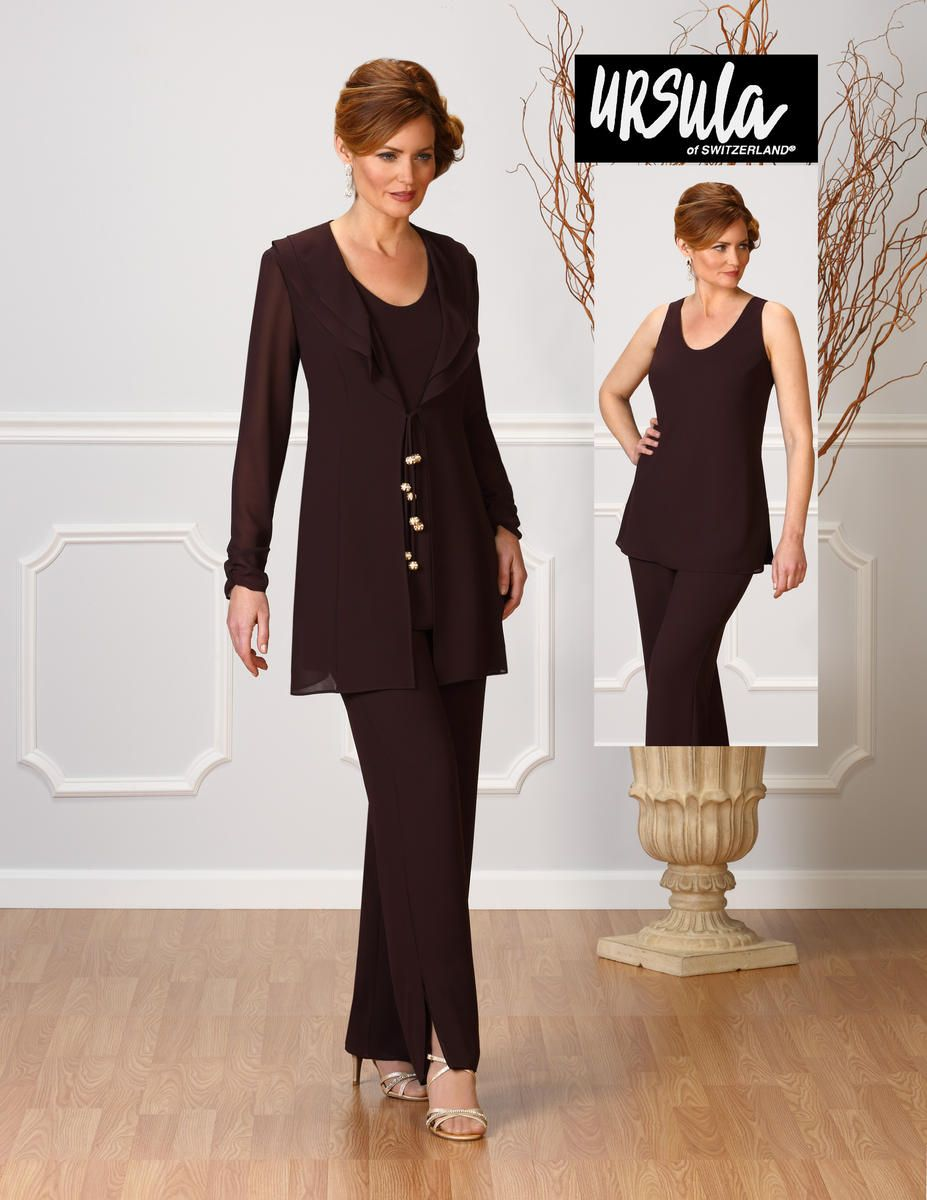 f66ca50bd05 Ursula of Switzerland 13212 is a hi-twist crepe three piece women s pantsuit  with jacket