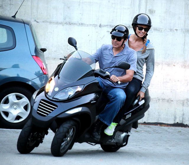 George Clooney and Stacey Kiebler on a Piaggio MP3