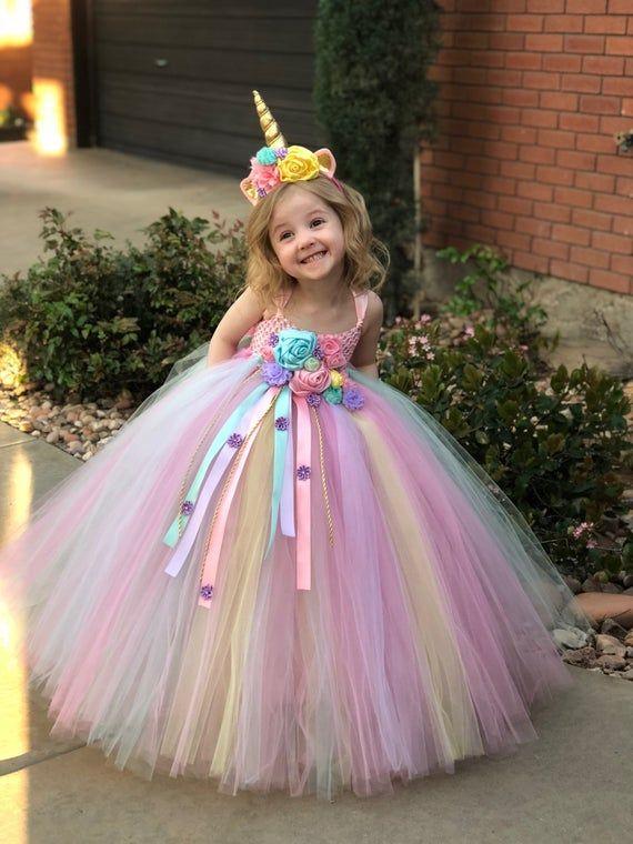 Einhorn Tutu Kleid - Einhorn Geburtstag Kleid - Einhorn Horn - Einhorn Outfit - Geburtstagskleid - Halloween-Kostüm - Einhorn Geburtstag Outfit #flowerdresses
