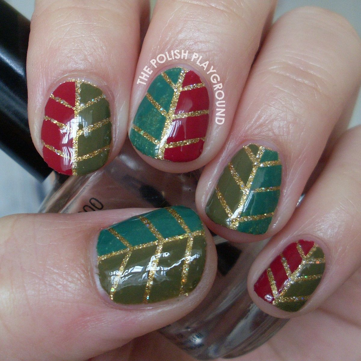 Glittery Autumn Leaf Nail Art using striping tape...Gorgeous ...