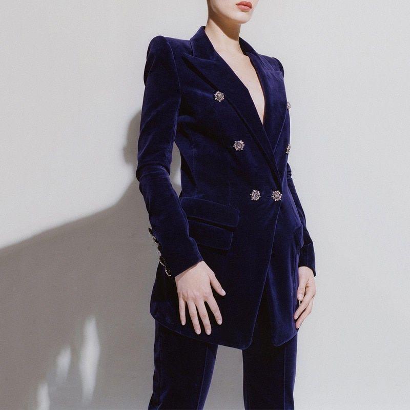 96f317cf4c 2018 Winter Formal Women Pants Suit Runway Designer Sexy V Neck ...