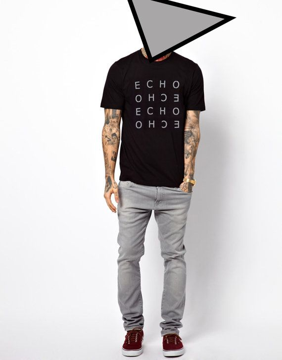 8ba281dfbee Men s T-shirt Echo Black White Gray Lettering Minimalist Graphic Modern  Stylish Cotton