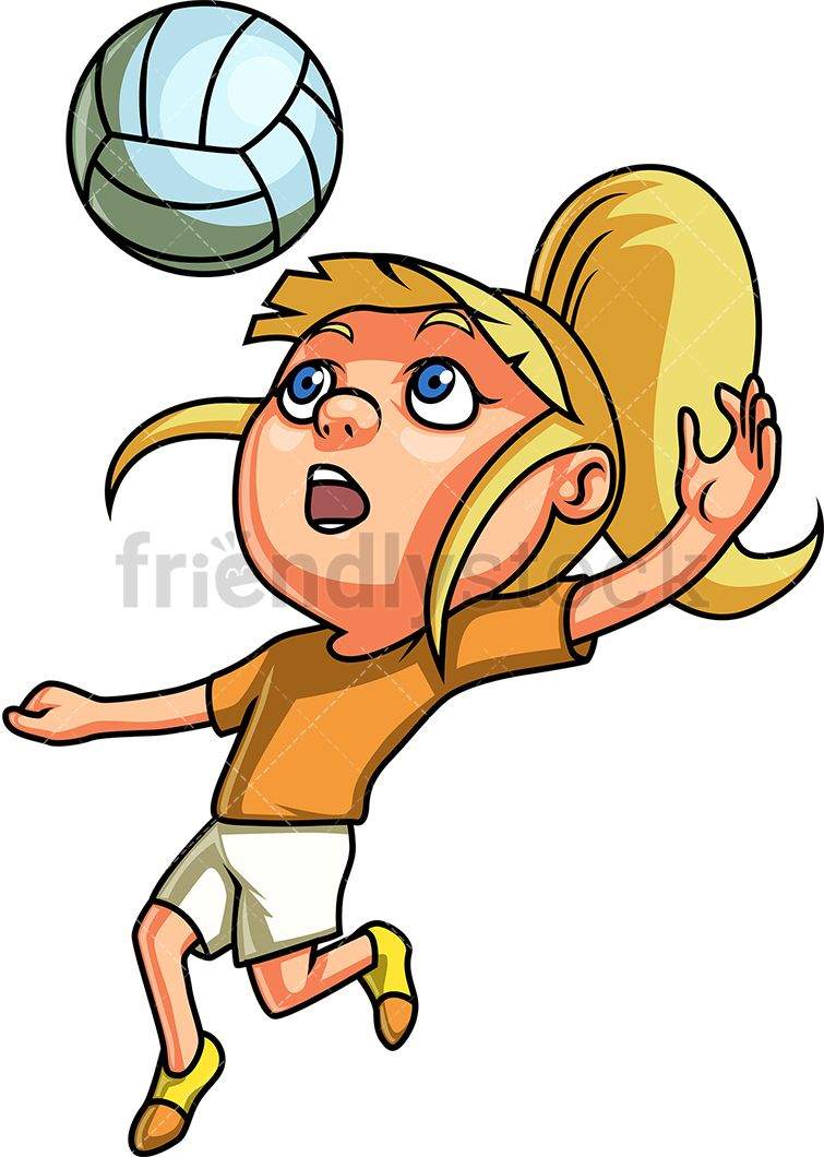 Little Girl Playing Volleyball Cartoon Clipart Vector Friendlystock Cartoon Clip Art Children Illustration Sport Illustration