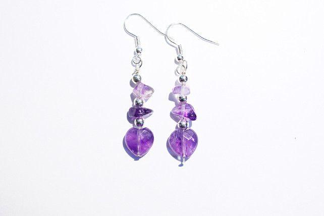 Purple amethyst heart dangle earrings, purple and silver gemstone chip earrings £7.50
