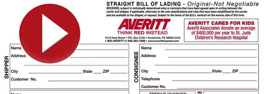 printable sample bill of lading pdf form