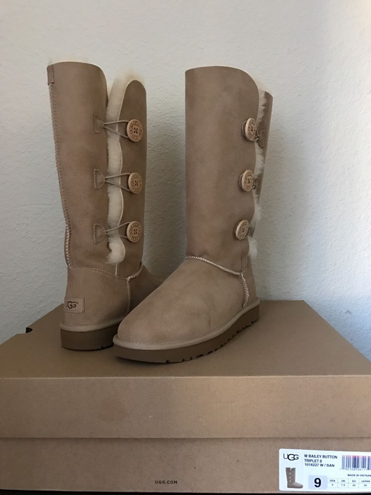 47d83027c7f NIB UGG Women's Bailey Button Triplet II Sheepskin Boot 1016227 Sand ...