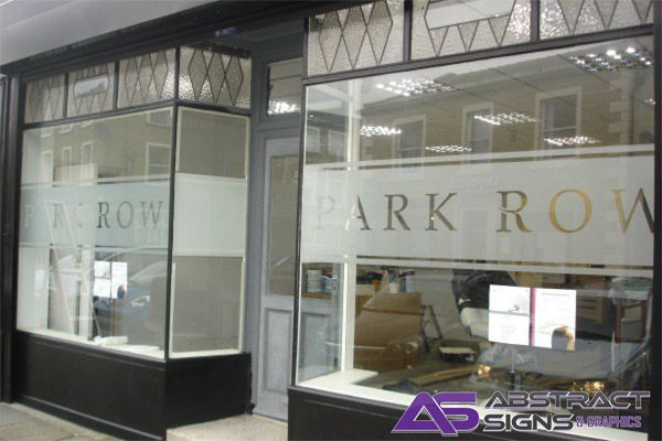 Window graphics for business frosted glass window stickers window graphics west yorkshire - Stickers salon design ...