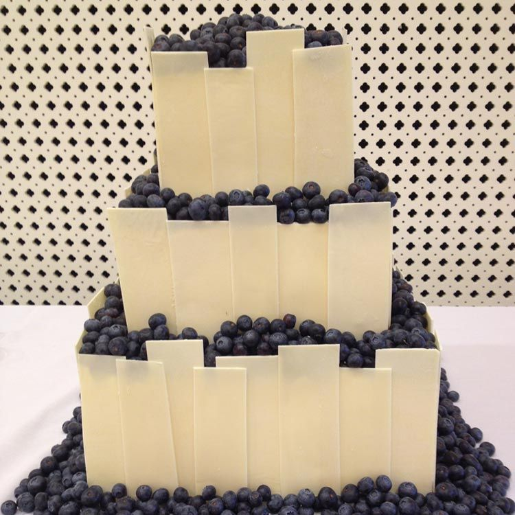Black and White wedding cake with fresh blueberries by SweetMemoriesBakery.com