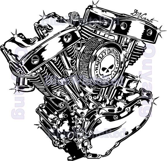 Engine Harley Davidson Powered Bike Art Wall Sticker Adhesive Punk Carbon  Fiber Surf Board Stickers Motorcycle Part 33