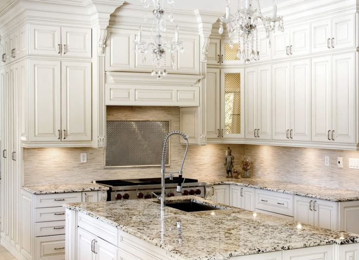 Image Result For Antique White Kitchen Cabinets With Red
