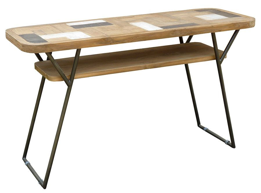 Fantastic Recycled Teak Wood Brux Art Deco Console Serving Table Inzonedesignstudio Interior Chair Design Inzonedesignstudiocom