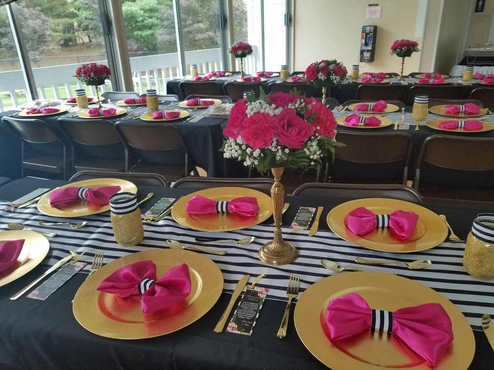 Kate Spade Table Decorations Fuchsia Hot Pink Black And White Stripes