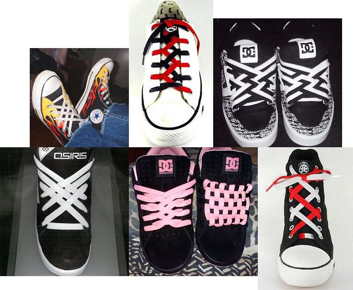 Fashreport shoe lacing check and shoelace patterns many different ways to tie your shoe laces my daughter loves this site check ccuart Gallery