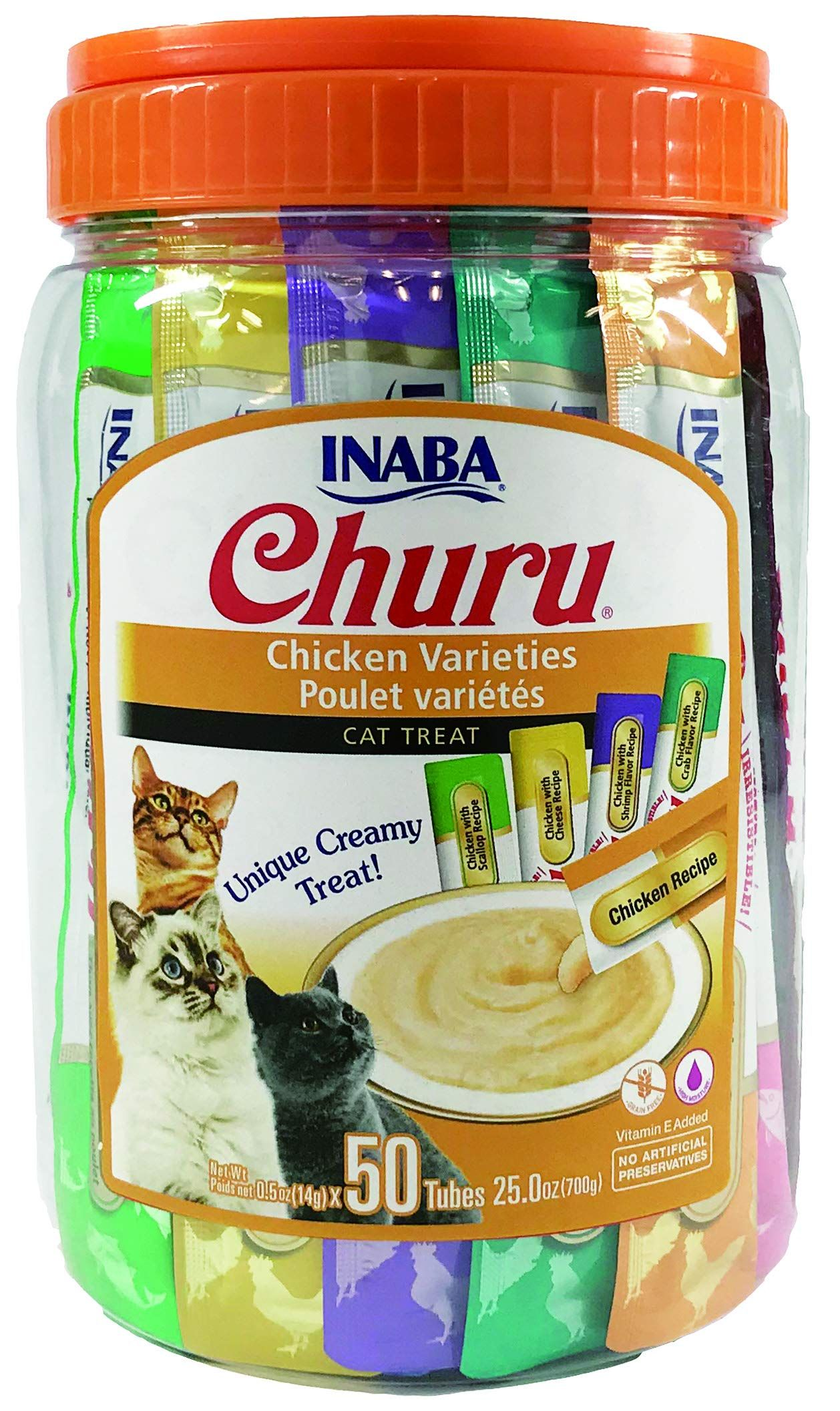 Inaba Churu Lickable Creamy Puree Cat Treats 5 Flavor Chicken Variety Canister Of 50 Tubes Click On Th In 2020 Cat Treats Natural Cat Treats Freeze Dried Dog Treats